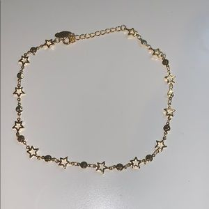 Double Star Gold Plated Chain Choker Necklace